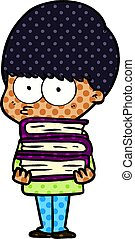 nervous cartoon boy carrying books