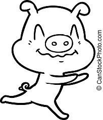 nervous cartoon pig running