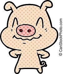 nervous cartoon pig