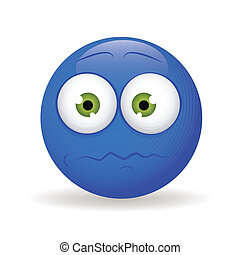 Nervous - abstract blue nervous emoticon on white background