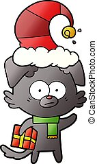 nervous dog cartoon with gift
