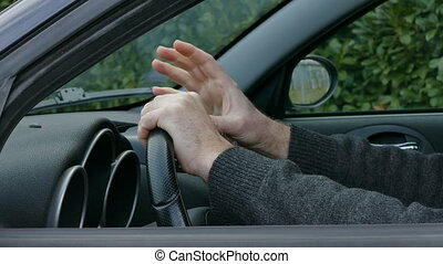 Nervous driver tapping and gesturing
