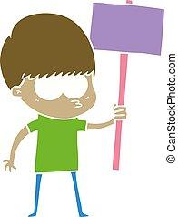 nervous flat color style cartoon boy holding placard