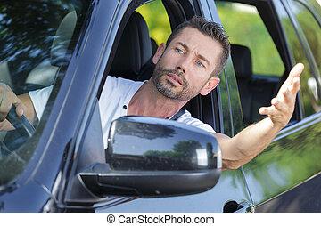 nervous man got stuck in traffic