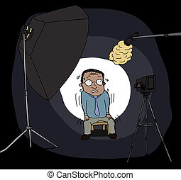 Nervous Man on Camera - Nervous Hispanic man in front of...