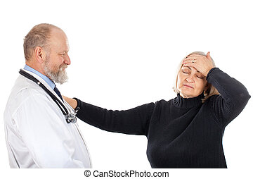 Nervous patient with her doctor