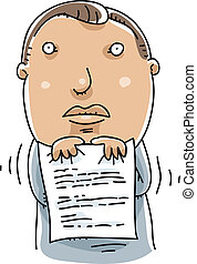 Nervous Resume - A cartoon man shivers with fear as he holds...