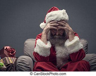 Nervous Santa Claus on Christmas eve