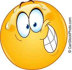Nervous smile emoticon - Emoticon with nervous smile