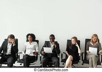 Nervous stressed job applicants preparing for interview ...
