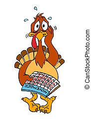 Nervous Thanksgiving Turkey - hand drawn cartoon turkey...