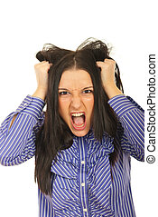 Nervous woman pulls her hair out and screaming isolated on white background