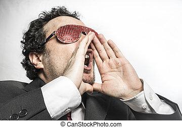 nervously, argent, inquiet, homme affaires,  shoutout, crier, rouges, lunettes