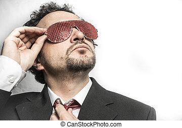 nervously, argent, inquiet, homme affaires, crier, rouges, lunettes
