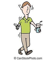 nervously, prenant pilules, problème, secousse, homme médical
