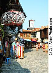 nesebar, 古い, カラフルである, ガラス, ランプ, 市場