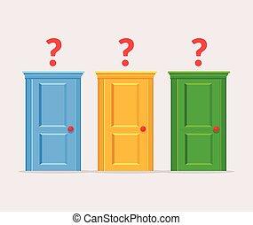 nesnadný, dveře, výběr