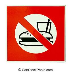 nessuno cibo, e, bevanda, segno, isolato, bianco, fondo