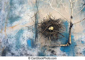 """Nest and plant skeleton. Photographed on an abstract painting. """"Composition Of Perpetual Structures""""."""