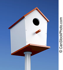Nest box and blue sky