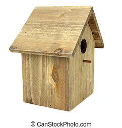 Nest box bird hause, on white background