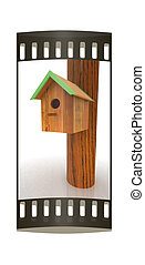 Nest box birdhouse. The film strip - Nest box birdhouse on a...