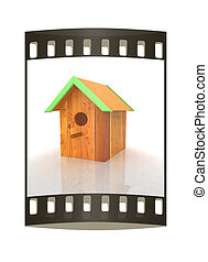 Nest box birdhouse. The film strip