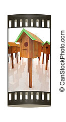 Nest box birdhouses. The film strip