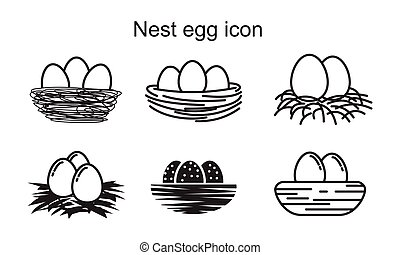 Nest egg icon template black color editable. Nest egg icon symbol Flat vector illustration for graphic and web design.