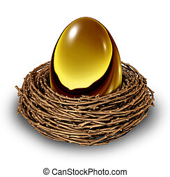 Nest Egg in a bird nest as a gold retirement savings fund...