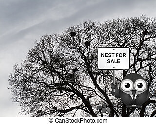 Nest for sale - Comical bird estate agent advertising nest...