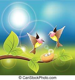 Nest - Illustration, two birds fly on its nest