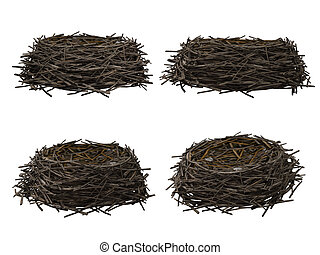 Nest, isolated on white background 3D