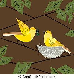 nest, paar, vögel