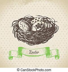 nest., pasen, illustratie, achtergrond, ouderwetse , hand, getrokken, eitjes