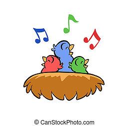 nest, singende, vögel