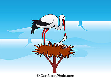 nest, storks