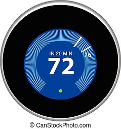 Nest Thermostat Blue - Nest thermostat controls and...