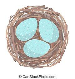 Nest with eggs - Eggs inside the bird nest. Vector...