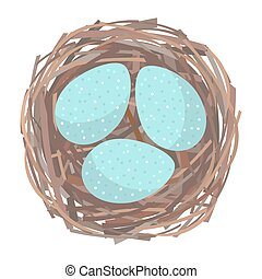 Nest with eggs - Eggs inside the bird nest. Vector...