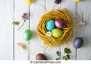 nest with painted eggs. Top view