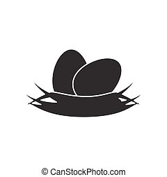 Nest with two eggs icon. - Nest with two eggs icon isolated...
