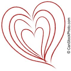 Nested Hearts Doodle Clip Art