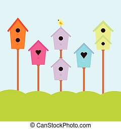 Abstract birdhouse set with birds. Abstract colorful ...