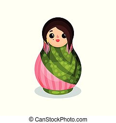 Nesting doll, colorful wooden matryoshka vector Illustration on a white background