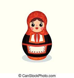 Nesting doll, Russian wooden matryoshka babushka vector Illustration on a white background