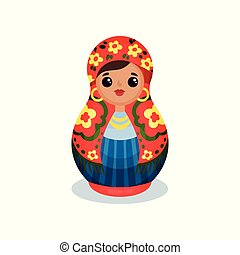 Nesting doll, Russian wooden matryoshka vector Illustration on a white background