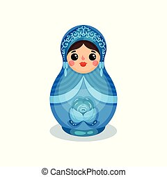 Nesting doll, Russian wooden matryoshka with Gzhel ornament vector Illustration on a white background