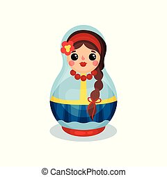 Nesting doll, traditional Russian wooden matryoshka vector Illustration on a white background