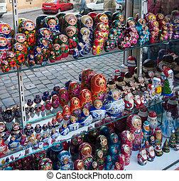 Russian nesting dolls in a store window.